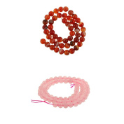 MagiDeal 2 Pcs Charm Fire Round Agate Gemstone Rose Quartz Round Loose Beads Chain Necklace For Friend Gifts
