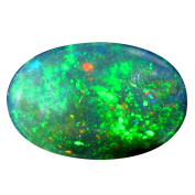1.12 ct Oval Cabochon Cut (10 x 6 mm) Flashing 360 Degree Multicolor Genuine Ethiopian Black Opal Loose Gemstone