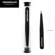 TWEEZERLADY SLANTED TWEEZERS - FULL SIZE 9.5CM - Black Moo