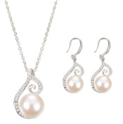 Cosanter Fashion Necklace Earrings Jewellery Set Pearl & Rhinestone Accessories Two-Piece 1 Set