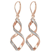 9ct Rose Gold Stardust Twisted Spiral Long 45mm Drop Earrings 2.1g Hallmarked