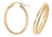 9ct Yellow Gold 18x15mm D Shaped Oval Hoop Earrings 1.1g Hallmarked