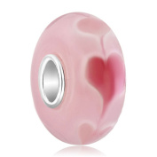 Sug Jasmin 925 Sterling Silver Heart Love Murano Glass Charm Beads For Charm Beacelets