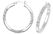 Sterling Silver Square Tube Diamond Cut Criss Cross 25mm Diameter Hoop Earrings Weight 4.6g