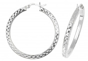 Sterling Silver Square Tube Diamond Cut 30mm Diameter Hoop Earrings Weight 4.8g