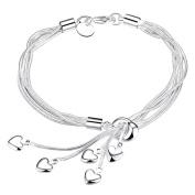 Cosanter Fashion Woman Bracelet With Tassel-Shaped Main Chain & Heart-Shaped Pendant