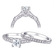 Newshe 2pc Vintage Princess Cut White Cubic Zirconia 925 Sterling Silver Engagement Wedding Ring Set