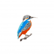 Anderson & Webb Blue Sapphire Kingfisher Brooch in 925 Silver With FREE SP Ball Studs