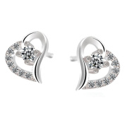 CHIC*MALL 925 Sterling Silver Plated Fashion Crystal Heart Ear Stud Earrings Jewellery Gift