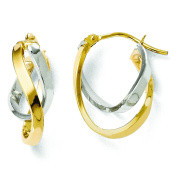 Leslies 14k Yellow Gold Two-tone Polished Hinged Hoop Earrings 28Q