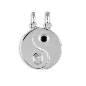 Yin Yang Pendants with 2x zirconia from 925 silver