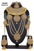 Asian Style Ethnic Beautiful Gold Plated Crystal Stone Indian Necklace Earrings Bridal Set Partywear Jewellery