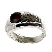 Act 925m silver ring size 14 synthetic stone burgundy [AB5139]