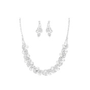 Ant Symphony for Wedding Jewellery Pearl Fine Earrings Clear Crystal Drop Necklace Set Warm White