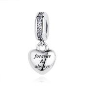 Forever & Always Heart Dangle Charm Pandora & European Bracelets Compatible