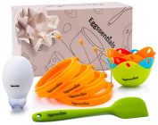 Eggssentials 4 Poached Egg Cup | 4 Pancake Mould Egg Ring | 1 Egg Yolk Separator | 1 Spatula | All-In-One Convenient Silicone Home Kitchen Set BPA Free and FDA Certified Food Safe