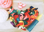 Assorted Colour Balloons with Double Action Hand Air Pump and Curly Ribbons