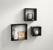 Stunning 3pc Set of Norsk High-Gloss Floating Cube Shelves- Black/White Available