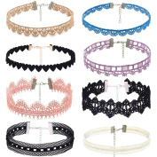 IGEMY Choker Necklace Set Stretch Velvet Classic Gothic Tattoo Lace Choker
