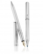 Waldmann Two-In-One 925 Sterling Silver Fountain / Ballpoint Pen - Fine Barley Pattern - 18ct Gold Nib Bold - Full UK Assay Office Hallmarked.