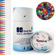 Bullet Journal 60pcs Colouring Pens, 0.4mm - 2 mm Felt Tip Pens Dual Tip Brush Art Markers, Water Colour Fineliner Drawing Pens