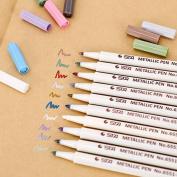 STA 10 Colours Lot Metallic Marker Pen DIY Scrapbooking Crafts Soft Brush Pen Art Marker Pen 1-2mm For School Supplies Stationery