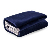 Premium Polyester Blanket,50(in)×60(in),100% 300 GSM Microfiber Polyester, Machine Washable, Super Soft & Cosy, Blue