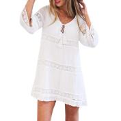 Women Dress, Saingace Women Summer Three Quarter Sleeve Loose Lace Boho Beach Short Mini Dress