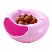 JuneJour Plastic Double Melon Seeds Dish Drying Fruit Tray with Phone Supporting Slot for Living Room