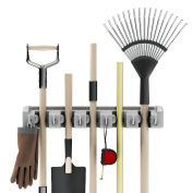 Shovel, Rake and Tool Holder with Hooks- Wall Mounted Organiser for Garage, Closet, or Shed-Hang Home and Garden Tools-Space Saving Rack by Stalwart