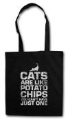 Cats Are Like Potato Chips Shopper Reusable Hipster Shopping Cotton Bag