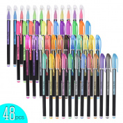 aibecy 48 Colours Glitter Gel Pens, Metal/Neon/Gouache/Stylus Styling Highlighting For Students Drawing Colouring Books