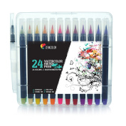 24 Waterbrush Pens and 1 Aqua Brush by Zenacolor - Watercolour Brush Pens with Water-Based and Non-Toxic Ink - Soft and Flexible Tips Perfect for Calligraphy, Adult Colouring or Manga Drawing