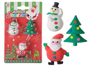 3pcs Santa Snowman Christmas Tree Erasers Rubbers Stocking Party Bag Fillers Gift
