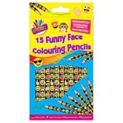 15 x Funny Face Emoji Design Colouring Colour Pencils School Home Party Bag Fillers