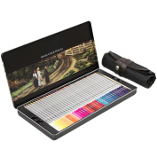 Crayons Set in Metal Box with Pencil Case - 72 Colours with Brush - Watercolour Pencils for Kids and Adults - Grinscard