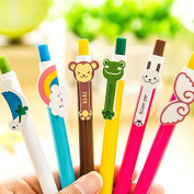 DaoRier 6Pc Cute Animals Colourful Ball Pen Stationery for School Office