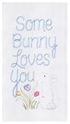 Some Bunny Loves You Spring Flowers Flour Sack Kitchen Towel Cotton 70cm