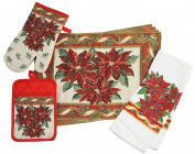 Home Concepts Tapestry Poinsettia Cotton Kitchen Linen Set
