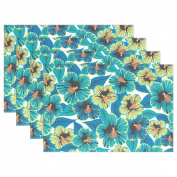 BENNIGIRY Kitchen Dining Room Placemat Table Mat, Plant Flowers 30cm x 46cm Polyester Table Place Mat 1 PCS