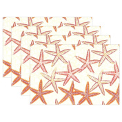 BENNIGIRY Kitchen Dining Room Placemat Table Mat, Seamless Starfish 30cm x 46cm Polyester Table Place Mat 1 PCS