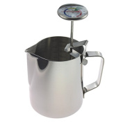 Milk Thermometer and 600ml Milk Jug For Perfect Barista Style Coffee Making Great For Frothy Latte Cappuccino