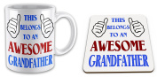 This Belongs To An Awesome Grandfather Novelty Gift Mug with Coaster - Blue / Red