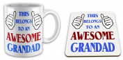 This Belongs To An Awesome Grandad Novelty Gift Mug with Coaster - Blue / Red