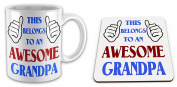 This Belongs To An Awesome Grandpa Novelty Gift Mug with Coaster - Blue / Red