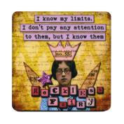 I know my limits. I don't pay any attention to them, but I know them. Retro Humour Single Mug Coaster