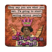 They say you are what you eat. I'm going to start eating skinny people . Retro Humour Single Mug Coaster