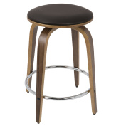 Porto Mid-Century Modern Counter Stool in Walnut and Brown Faux Leather with Chrome Footrest by LumiSource - Set of 2