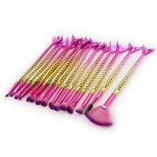 erthome 15PCS Mermaid Brush Set Foundation Eyeshadow Brushes Makeup Beauty