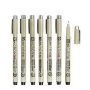 Yulan 7 pcs/Lot Sakura Pigma Micron Needle for Drawing Sketch Cartoon Archival Ink Gel Pen Stationery Animation Art Supplies